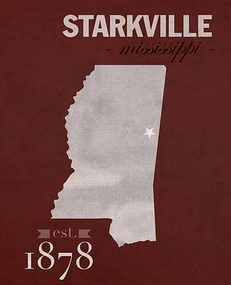Mississippi State University Bulldogs Starkville College Town State Map Poster Series No 068 Art Print
