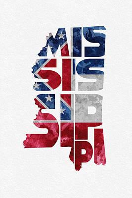 Usa Flag Mixed Media - Mississippi Typographic Map Flag by Ayse Deniz