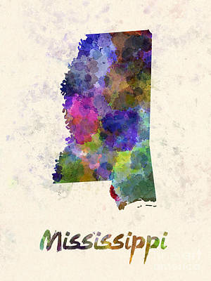 Cartography Painting - Mississippi Us State In Watercolor by Pablo Romero