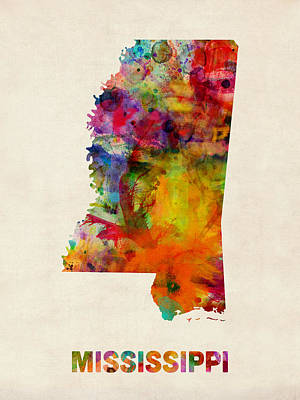 United States Map Digital Art - Mississippi Watercolor Map by Michael Tompsett
