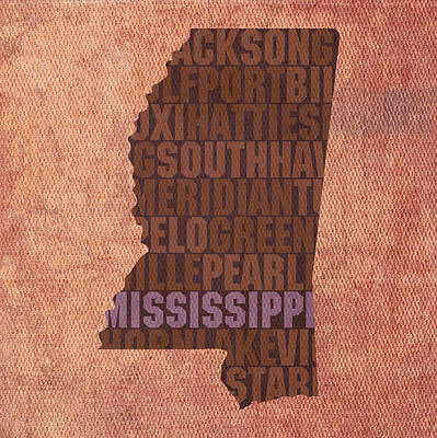 Wall Art - Mixed Media - Mississippi Word Art State Map On Canvas by Design Turnpike