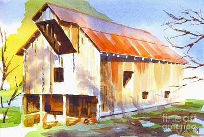 Impressionistic Landscape Painting - Missouri Barn In Watercolor by Kip DeVore