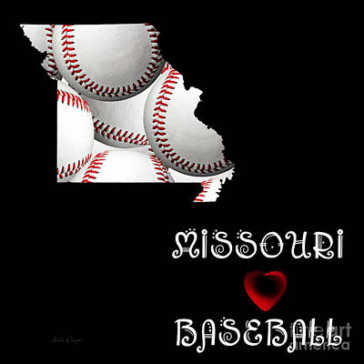 Digital Art - Missouri Loves Baseball by Andee Design