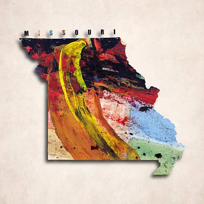 Missouri Map Art - Painted Map Of Missouri Art Print