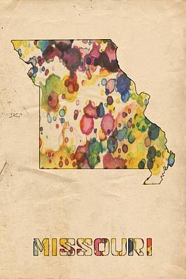 Painting - Missouri Map Vintage Watercolor by Florian Rodarte