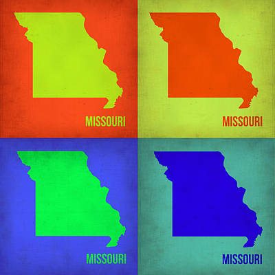Pop Art Painting - Missouri Pop Art Map 1 by Naxart Studio