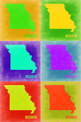 Modern Poster Painting - Missouri Pop Art Map 2 by Naxart Studio