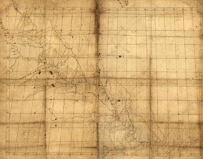 Antique Drawing - Missouri River Map Used By Lewis And Clark  by MotionAge Designs