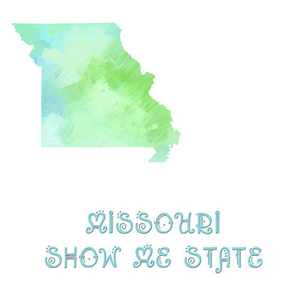 Missouri - Show Me State - Map - State Phrase - Geology Art Print by Andee Design