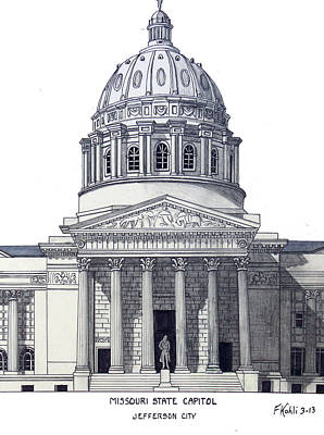 Drawing - Missouri State Capitol by Frederic Kohli