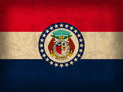 Columbia Mixed Media - Missouri State Flag Art On Worn Canvas by Design Turnpike