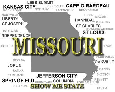 Charles Digital Art - Missouri State Pride Map Silhouette  by Keith Webber Jr