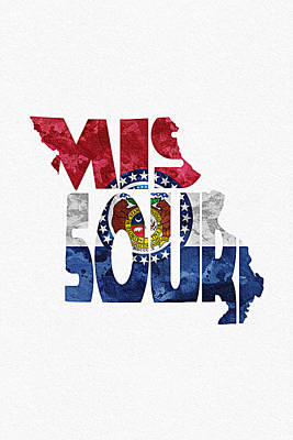 Bizarre Mixed Media - Missouri Typographic Map Flag by Ayse Deniz