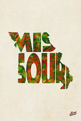 Bizarre Mixed Media - Missouri Typographic Watercolor Map by Ayse Deniz
