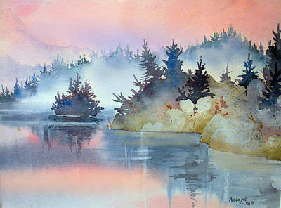 Tree Reflection At Sunset Painting - Mist At Sunrise by Teresa Ascone