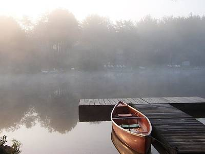Mist Floating Over The Lake Art Print