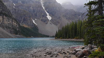 Mist Over Lake Moraine Art Print by Cheryl Miller