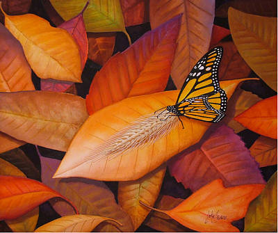 Monarch Butterfly Painting - Mistaken Identity  Butterfly On Leaves by John Samsen