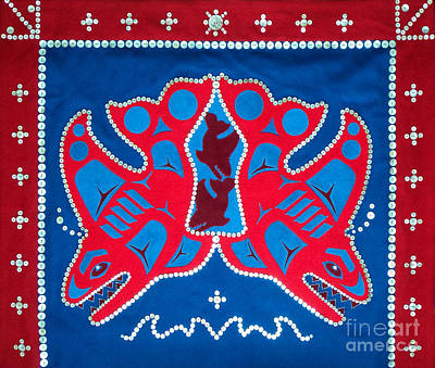 Tapestry - Textile - Mistamekwak - Whales - Northern Cree  by Chholing Taha