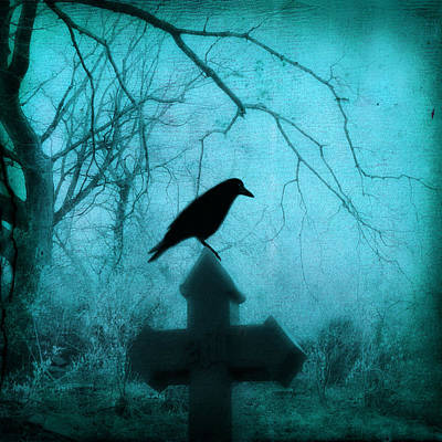 Ravens In Graveyard Photograph - Misted Blue by Gothicrow Images