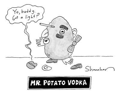 Potato Drawing - Mister Potato Vodka by Danny Shanahan