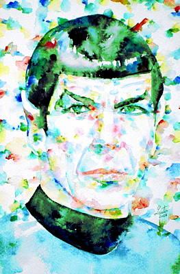 Mister Spock  Watercolor Portrait Art Print by Fabrizio Cassetta