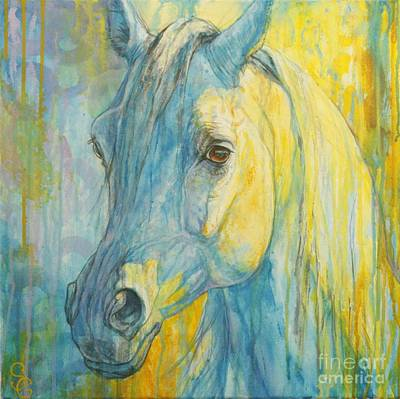 Equestrian Art Painting - Misterious Blues by Silvana Gabudean Dobre