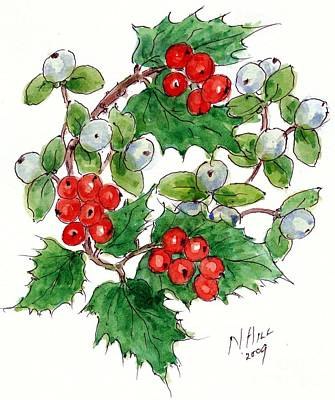 Mistletoe And Holly Wreath Print by Nell Hill
