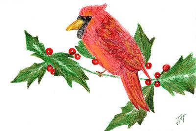 Painting - Mistletoe Cardinal by Jini Patel Thompson - JPT