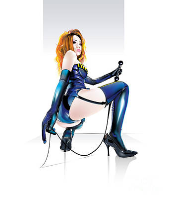 Art Print featuring the drawing Mistresskira V2 by Brian Gibbs