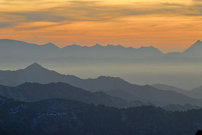 Mists In The Mountains At Sunset Art Print by Guido Montanes Castillo