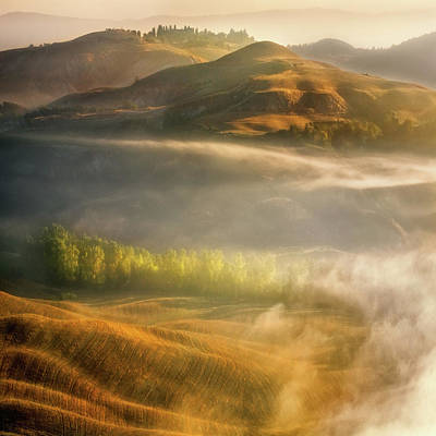 Autumn Field Wall Art - Photograph - Mists... by Krzysztof Browko