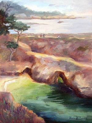 Point Lobos Painting - Misty Afternoon China Cove by Karin  Leonard