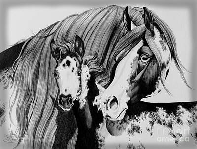Ink Drawing Drawing - Misty And Jet by Cheryl Poland