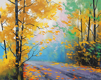 Maple Tree Painting - Misty Autumn Day by Graham Gercken