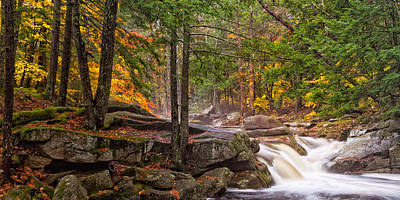 Photograph - Misty Autumn Waterfall Mad River Farmington Nh by Jeff Sinon