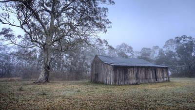 Misty Barn Art Print by Steve Caldwell