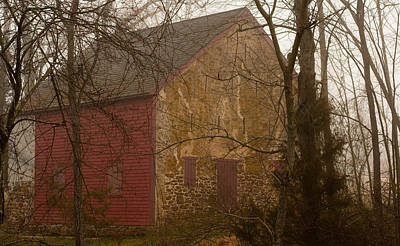 Photograph - Misty Batsto Barn by Kristia Adams