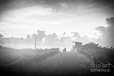 Day Break Photograph - Misty Beach Entrance - Miami Beach - Florida - Black And White by Ian Monk