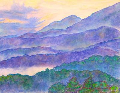 Misty Blue Ridge Art Print by Kendall Kessler