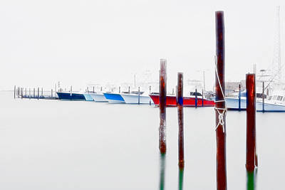 Abstract Seascape Digital Art - Misty Boats On The Outer Banks II by Dan Carmichael