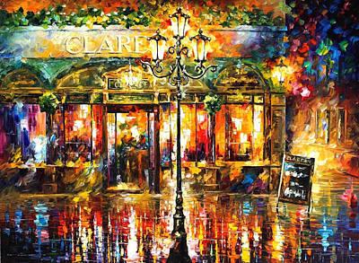 Misty Cafe - Palette Knife Oil Painting On Canvas By Leonid Afremov Original