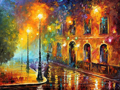 Misty City - Palette Knife Oil Painting On Canvas By Leonid Afremov Original