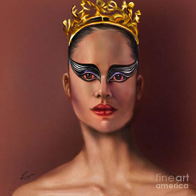 African-american Painting - Misty Copeland  As The Black Swan by Reggie Duffie
