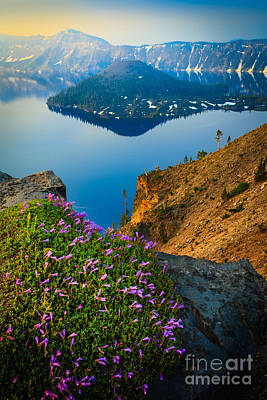 Misty Crater Lake Art Print
