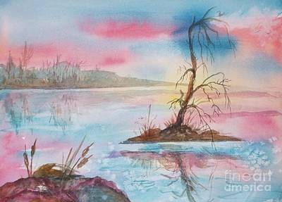 Morn Painting - Misty Dawn Over Lone Tree Island  by Ellen Levinson