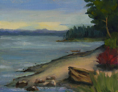 Impressionistic Beach Painting - Misty October Puget Sound by Maria Hunt