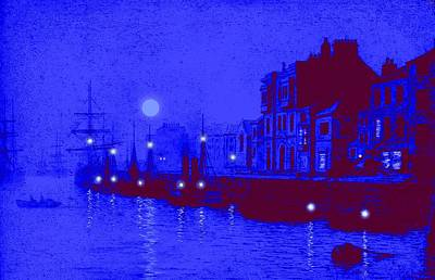 Port Town Mixed Media - Misty Evening Whitby Harbor 1893 by John A Grimshaw - L Brown