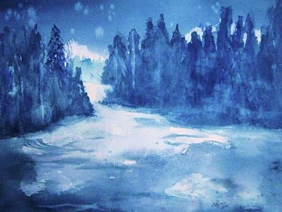 Waterscape Painting - Misty Falls by Ellen Levinson