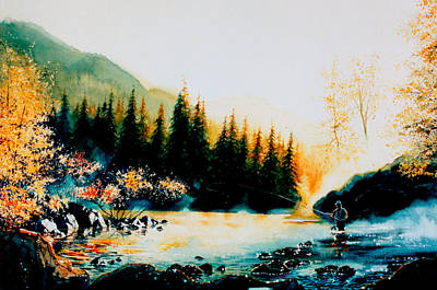 Fishing In Stream Painting - Misty Fishing Morning by Hanne Lore Koehler